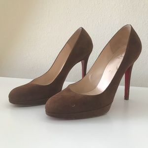 "Louboutin ""New Simple Pump"" Brown Suede"